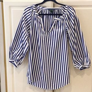 Ralph Lauren Striped Boho Top w/ Puffy Sleeves